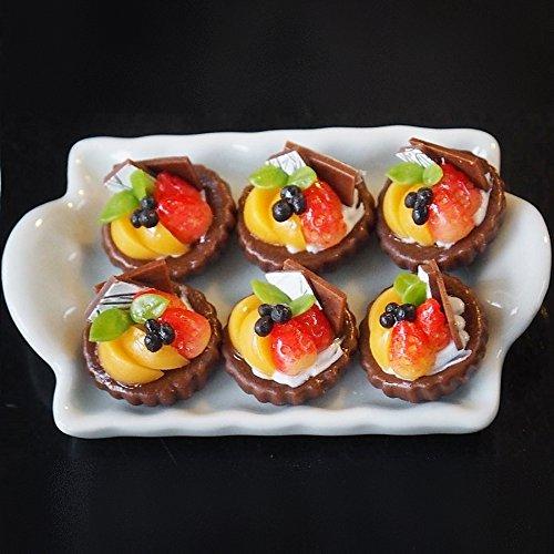 Dollhouse Miniature Food: 6 Mini Fruit Tart Pies On Ceramic Tray (Tart Teapot)