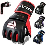 EMRAH Pro Style MMA Grappling Gloves Martial Arts Sparring Punching Bag Cage Fighting Maya Hide Leather Mitts UFC Training - X (Medium, Black/Red)