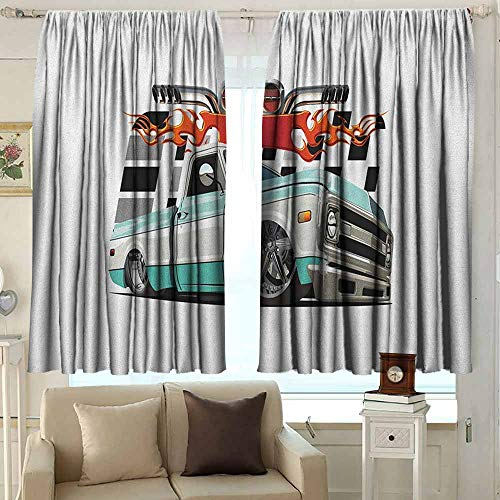 AFGG Decor Curtains Truck Lowrider Pickup with Racing Flag Pattern Background Speeding on The Streets Modified Darkening Thermal Insulated Blackout 55 W x 39 L Inches Multicolor ()