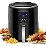 OMORC Air Fryer XL, 5.8QT Airfryer Oven Oilless Cooker with Hot Air Circulation Tech for Fast Healthier Food, 7 Cooking Presets and Heat Preservation Function - LCD Touch Screen (Recipe Book included)
