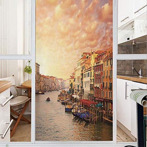 (Decorative Window Film,No Glue Frosted Privacy Film,Stained Glass Door Film,Venezia Italian Decor Landscape with Old Houses Gondollas and Spikes Image,for Home & Office,23.6In. by 59In Multicolor)