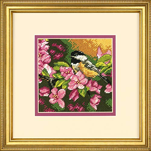 Dimensions 'Chickadee In Pink' Mini Needlepoint Kit for Beginners, 14 Mesh Canvas, 5'' x 5''