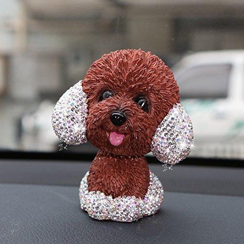 (TISHAA Bling Crystal Car Ornaments Cute Shaking Head Nodding Dog Puppy Figurines Bobble Head Dog Doll Toys Car Interior Decoration Gifts (Brown Puppy))