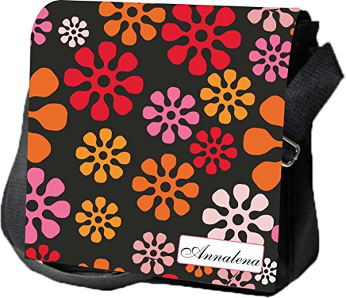 Livingstyle & Wanddesign Umhängetasche Damen Digital Reporter mit Namen, 4 L, schwarz, Hippie Blüten