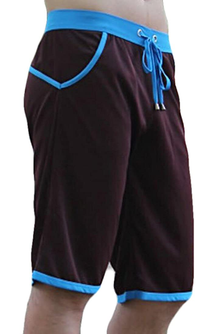 BYWX-Men Summer Cotton Lounge Drawstring Waist Knit Shorts Sleepwear