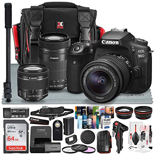 Canon EOS 90D DSLR Camera w/Canon EF-S 18-55mm Lens + Canon EF-S 55-250mm Lens, Xpix 58mm 2.2X Telephoto & .43x Wide-Angle Lens, Bag, Strap, 64GB Memory Card, Xpix Cleaning Kit & Platinum Accessories