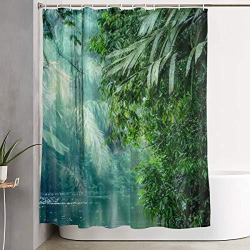 Amonee-YL Tortuguero National Park Rainforest Polyester Fabric Shower Curtain Sets with 12 Hooks,Modern Bathroom Home Decor, Waterproof 60
