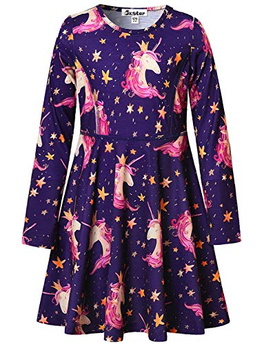 (Unicorn Dresses for Girls 7-16 Birthday Party Gift Kids Casual Cotton)