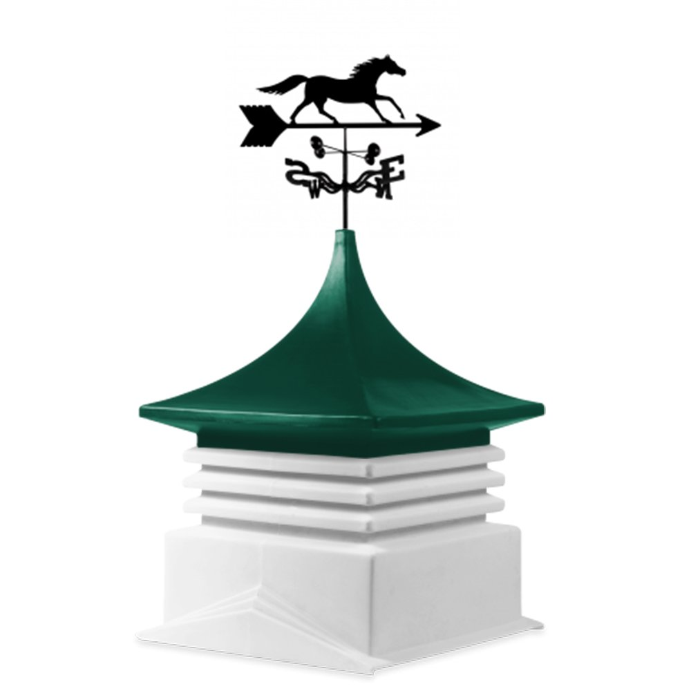 22'' Square base cupola: White base-Green top-Running Horse weathervane