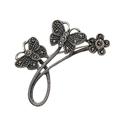 Wild Things Sterling Silver & Marcasite Butterflies & Flower Pin