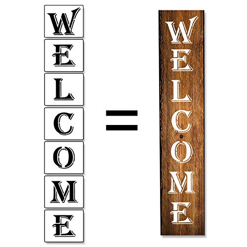 7Pcs Welcome Sign Stencil for Painting on Wood, Reusable Porch Sign Stencil Sturdy and Durable Kit Craft Art Painting Spray, Window, Glass, Wood, Airbrush,Chalk. (Welcome)