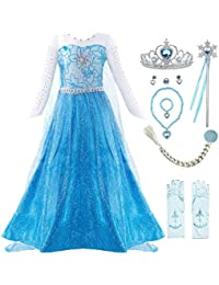 Little Girls Anna Princess Dress Elsa Snow Party Queen Halloween Costume