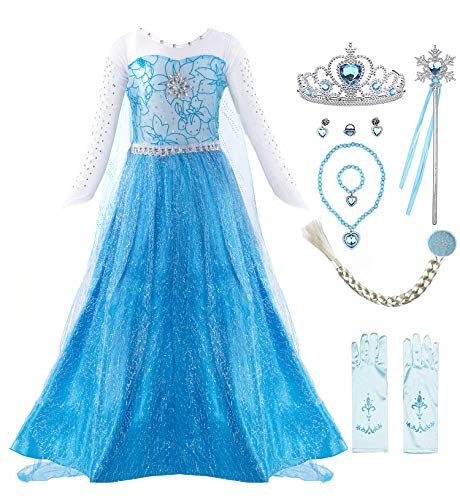 Padete Little Girls Anna Princess Dress Elsa Snow Party Queen Halloween Costume (8 Years, Blue LS with Accessories)