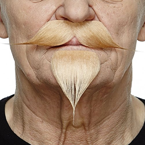 Blond handlebar with a goatee (Quality Fake Moustache)