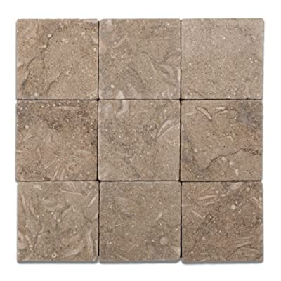 Seagrass / Rustic Green Limestone 4 X 4 Tumbled Field Tile