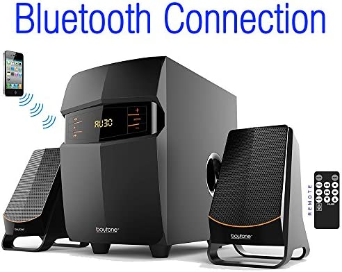 Boytone BT-3685F, Wireless Bluetooth 2.1 Multimedia Powerful Bass System with FM Radio, Remote Control, Aux Port, USB SD Slot MMC Audio for Phones, Tablets, Music and Movies. Renewed
