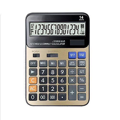 Calculator ,Professional Desk/ Office/ Business/ Financial Calculator with 14 Digit Large Display, Standard Electric LCD Calculator AA Solar Battery Dual Power Elegant - Lcd Digit Display 14 Battery