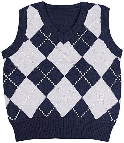 Sweater Pattern Kids (Enimay Kids Knit Sweater Vest V-Neck Argyle Pattern Pullover Navy | Grey 5 Years)