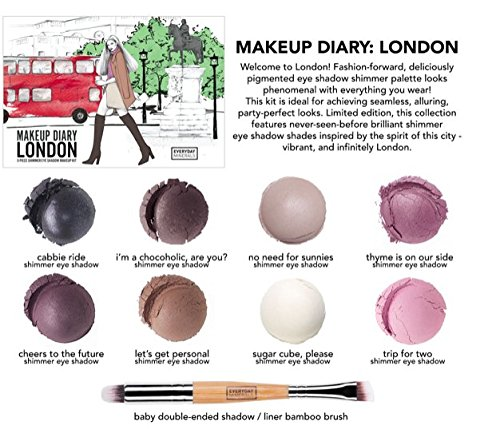 (Everyday Minerals | Makeup Diary London Kit | Limited Edition | 9 Piece Shimmer Mineral Eye Shadow Kit | Bamboo Brush Included| 100% Vegan | Cruelty Free | Natural Mineral)