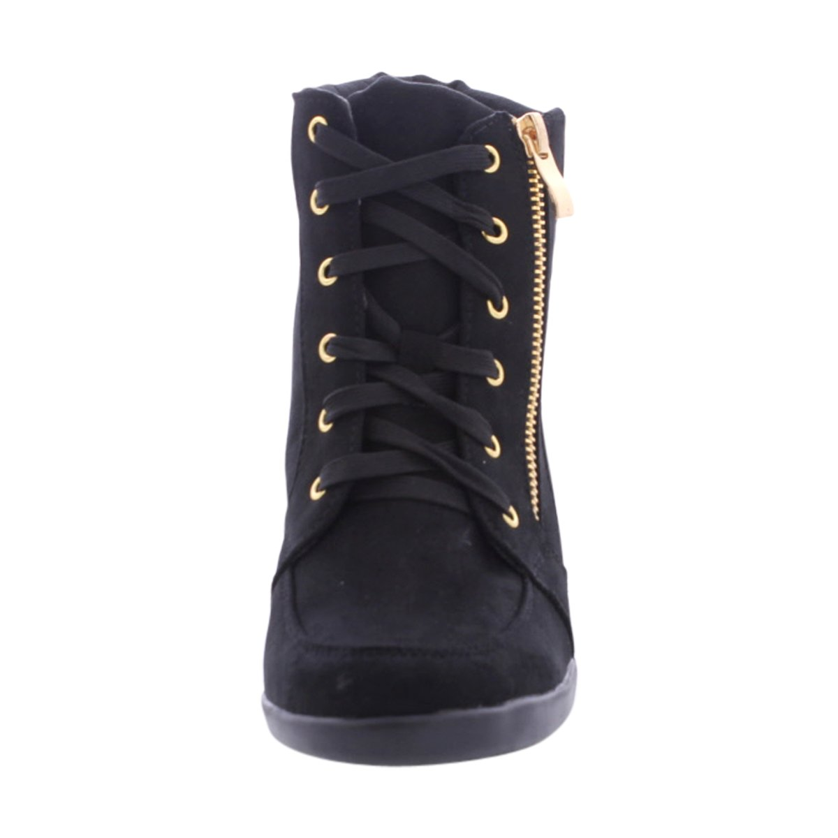 Forever - Women's Gold Side Black Zipper Wedge Sneakers - Black Side B01M23UNSV 10 B(M) US Black 3cfa5a