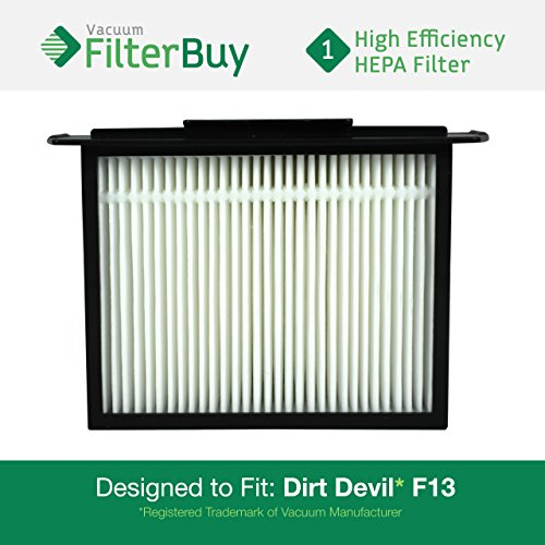 Dirt Devil F-13 (F13) HEPA Replacement Filter, Part # 3LK0540001. Designed by FilterBuy to fit Dirt Devil Reaction Dual Cyclonic, Reaction All-Surface, Reaction Fresh and Action Vacuum Cleaners