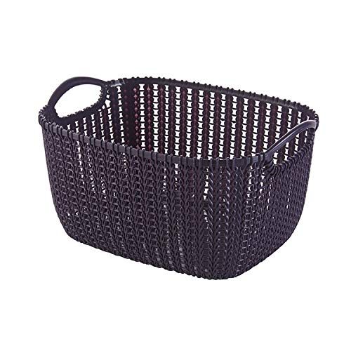 Asteria-Ashley Rattan Storage Baskets Plastic Dirty Clothes Baskets Underwear Storage Boxes Dormitory Storage Boxes Jewelry Household Items,Purple,L]()