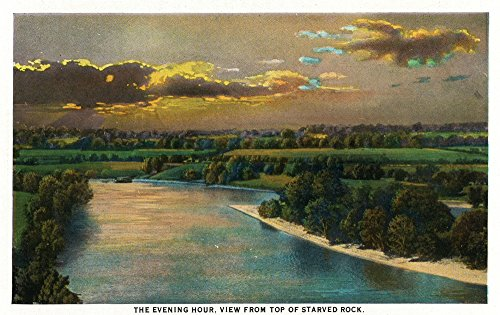 (Starved Rock State Park, IL - Starved Rock Summit View of Sunset over the Park (16x24 Giclee Gallery Print, Wall Decor Travel Poster))