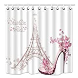 Eiffel Tower Shower Curtain NYMB Eiffel Tower Shower Curtain, High Heeled Shoes and Flower in Paris, Mildew Resistant Fabric Bathroom Decorations, Bath Curtains Hooks Included, 69X70 inches