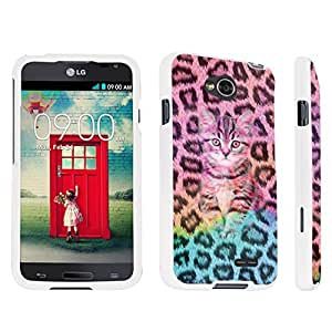 DuroCase ? LG Optimus L70 / LG Optimus Exceed 2 Hard Case White - (Leopard Rainbow Kitty Cat) by lolosakes