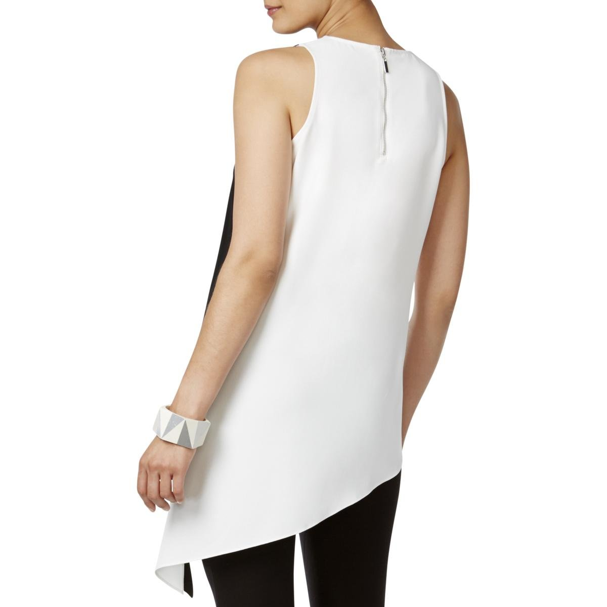 Alfani Womens Colorblock Asymmetrical Tunic Top B/W 6 by Alfani (Image #2)