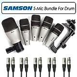 Samson 5KIT Drum Mic Kit Bundle With 3 Q Tom, Q Kick, Q Snare & 5 20FT XLR-XLR Microphone Cables
