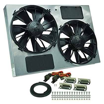 Image of Fans Derale Performance 16927 Gray/Black High Output Dual Radiator Fan