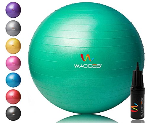 Wacces Yoga Ball with Hand Pump (Green, 55 cm)