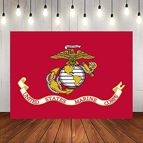 US Marine Corps Americana Military Flag Backdrop for Party Photography, 9x6FT, Background Photo Booth Studio Props LYLU951