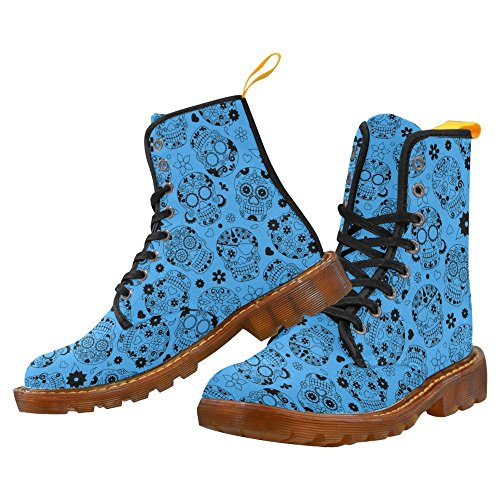 Sugar Skull Canvas Women's Boots Lace up Cool Design Shoes for Girl Short Boots