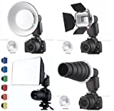 Flash Gun Strobies Flex Mount Modifier, Adapter Kit with Softbox, Diffuser, Beauty Dish Reflector, Snoot, Honeycomb, Barndoor for Canon 580EX II, 580EX, 550EX, 430ez; Sony HVL-F32X, HVL-F58AM; Olympus FL-50R; FL-50; Nikon SB-25; Vivitar 283; Sunpak 730Afp