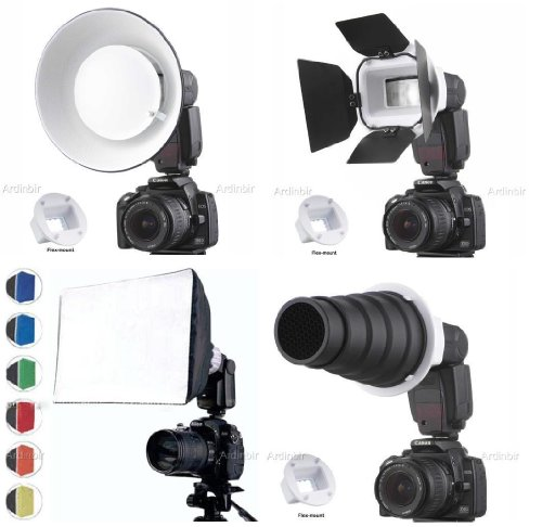 Flash Portrait Kit with Softbox, Diffuser, Beauty Dish Reflector, Snoot, Honeycomb, Barndoor for Sony F56AM; Nikon SB24, SB26, SB27, SB28; Canon 380EX, 420EZ; Olympus FL40, FL50, G40; Sunpak 2000-DZ, 256D, 355AF, 3500; Metz 36AF, 40MZ-2, 44MZ-2, Olympus G by FCStudio