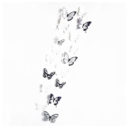 Sodial R 18 Pcs Semi Transparent Sticker Mural Papillon 3d Stickers