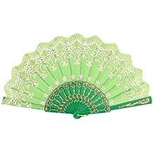 Estilo Chino Tono de oro Blanco Con Estampado Floral ventilador plegable Verde Mano