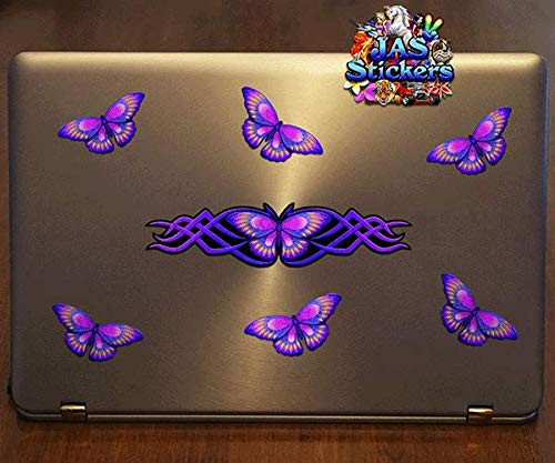 ST021PL/_3 JAS Stickers/® BUTTERFLY ANIMAL CAR DECAL Purple Large Vinyl Stickers Pack For Laptop Bicycle Jetski Caravan