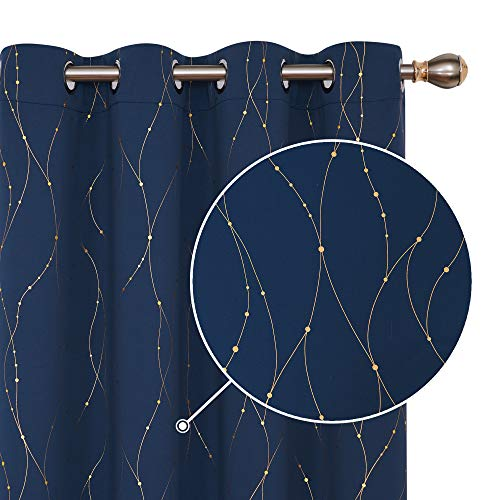 Deconovo Gold Foil Print Blackout Curtains Wave Line with Dots Window Curtains with Grommet for Living Room and Bedroom