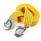 tow cable hook - Heavy Duty Tow Strap with Hooks,Nylon Material rope with 2 safety hooks 3 tonnes(6612 Pound) work load weight (yellow)