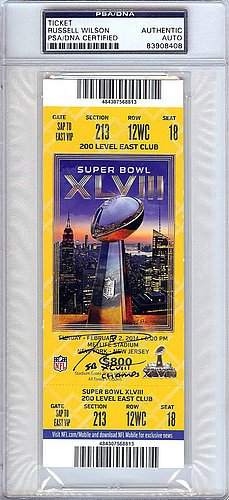 Russell Wilson Signed SB XLVIII Ticket Seattle Seahawks SB XLVIII Champs - PSA/DNA Authentication - Autographed NFL Gifts (Experience Gifts Seattle)