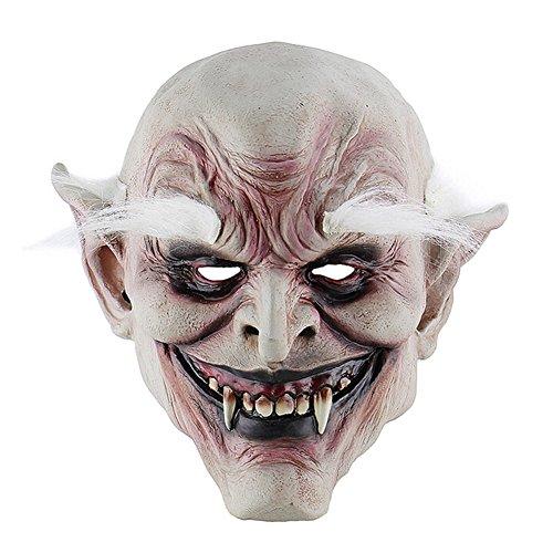 Zaote White-Browed Old Demon Halloween Horror Devil Mask Vampire Haunted House Evil Killer Fancy Dress (Mask Devil Moving Jaw)
