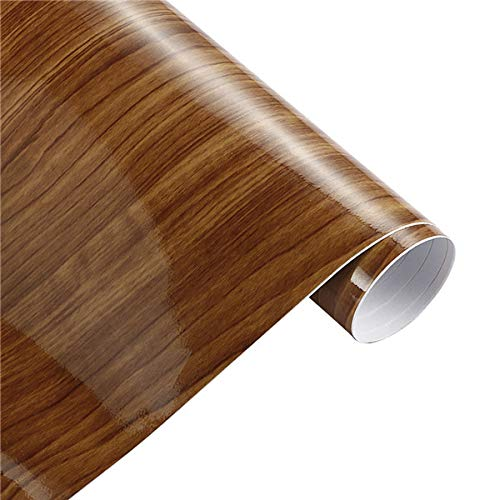 50x200cm Glossy Wood Grain Wrap for Car-Glossy Wood Grain decal Sheet-PVC Glossy Wood Grain Textured Cover-Car Interior Decorations Film Vinyl-Decoration Stickers Vinyl Waterproof Furniture Door (N07)