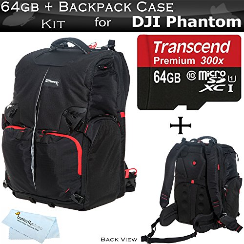 ButterflyPhoto Backpack Case for DJI Quadcopter Drones Fits with All DJI Phantom Drone Models DJI Phantom 1, Phantom 2, and Phantom 3, Phantom 3 4K Drones + 64GB High Speed Micro SD Memory Card Cloth