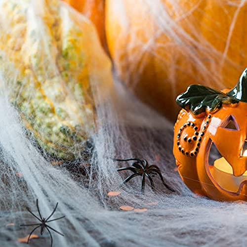 300g Halloween Spider Web Decor, Large Size Cover 1000 Sqft Super Stretchy with 60 Extra Fake Spiders,Halloween Party Supplies Scene Props Indoor Outdoor Decorations for Bar Haunted House