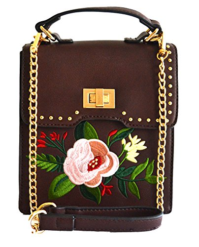top handle purse rose embroidery Brown floral cross body Women stitched Y6wq7