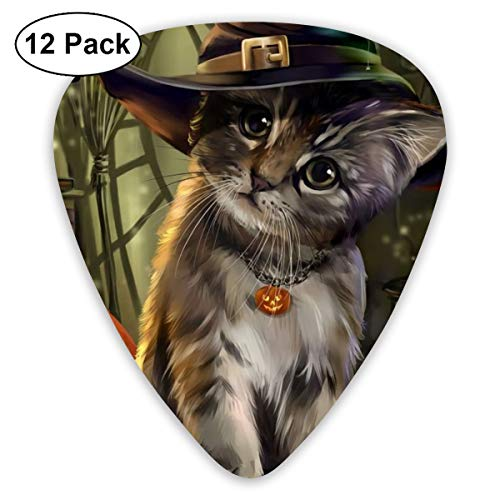 Samhain Cute Pet Cat Wicca Witch Wiccan Book Ultra Light 0.46 Medium 0.73 Heavy 0.96mm Printed Round Flat Soft Plastic Jazz Electric Acoustic Bass Guitar Pick Accessories Variety Pack