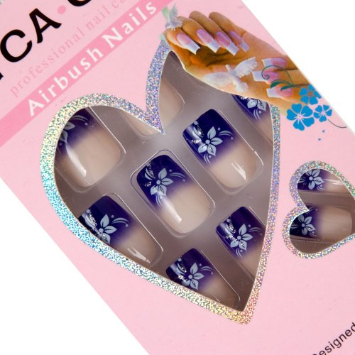 HUMASOL 24pcs Set Acrylic False Nail Tips French Full Nails Art Free Glue